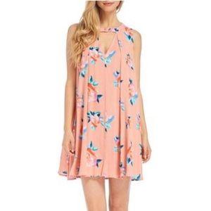 Peach floral mini dress. Size small.